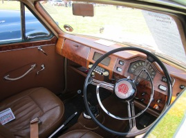 The stunning interior of an MG Magnette that was on display.