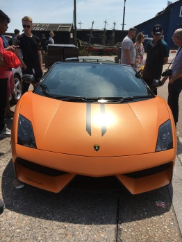 A Lamborghini, in orange, is there any other colour?