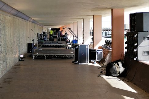 Setting up for Friday night.
