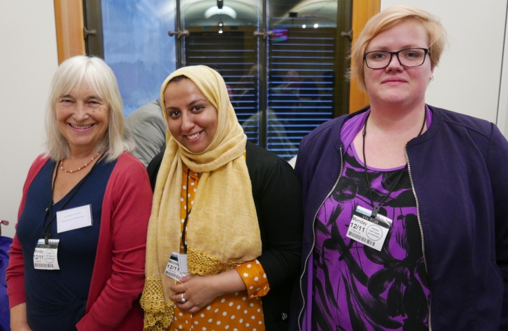 Alex Kempton (right), Felicity Laurence (left) of Hastings Community of Sacntuary, Fatima (centre) of City of Sanctuary, at Sanctuary in Parliament 12th November 2018